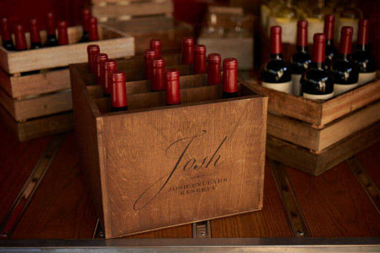 wine bottles in a crate