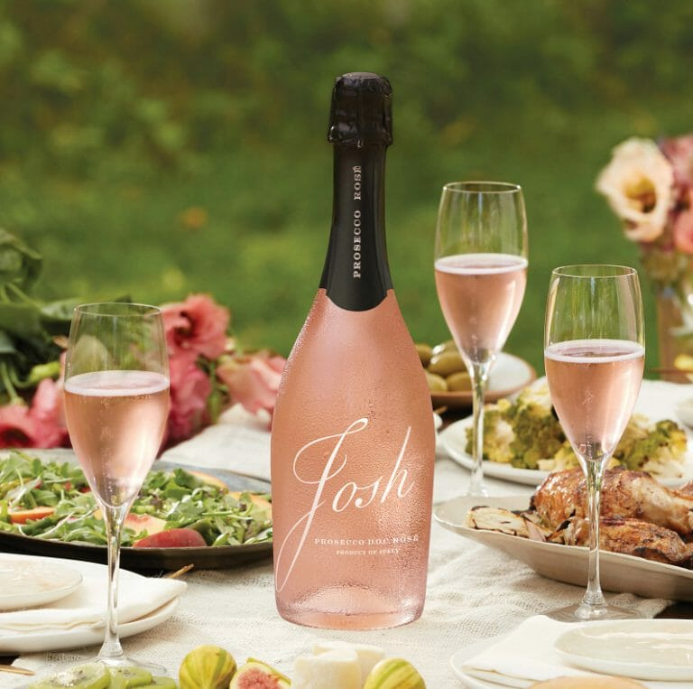 bottle of Josh Cellars prosecco rose on a spring table setting