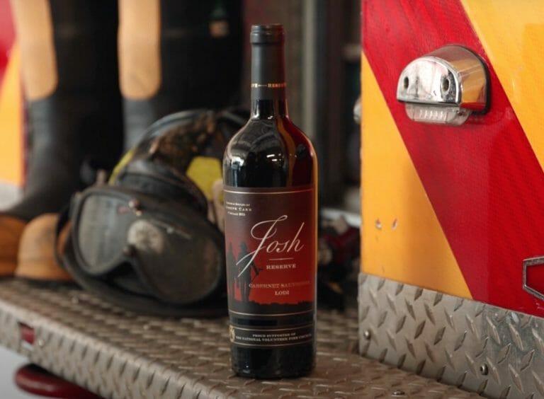 josh cellars reserve wine bottle on back of fire truck